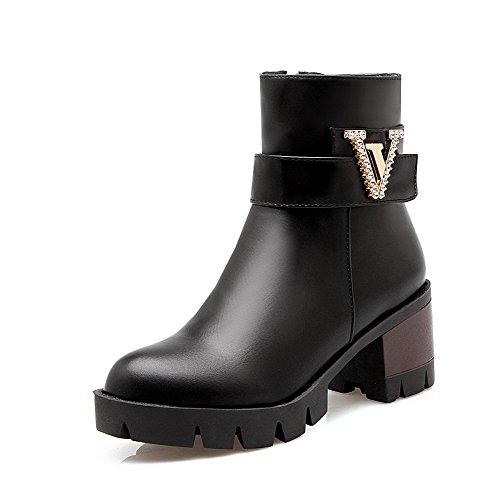 Pu Solid Low Zipper Kitten Black Women's Heels Boots Allhqfashion Top wqgIXBPW4