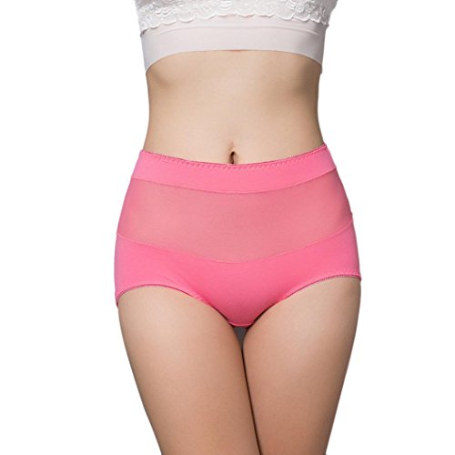 Women High Waist Cotton Panty, Witsapce Girls Comfortable Breathable Stretch Underwear Hipster-Plus Size (Watermelon Red, XL)