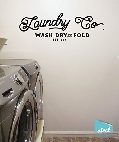 CECILIAPATER Laundry Co - Wash Dry and Fold - Vinyl Decal Wall Art Decor Sticker - Laundry Room Vintage Antique Sign Lettering