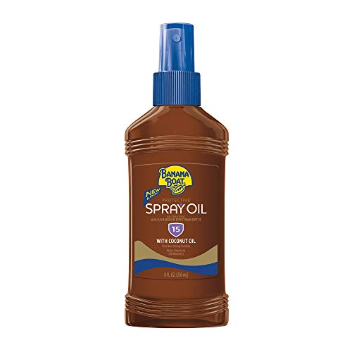 PACK OF 6 - Banana Boat Carrot & Banana Extracts Protective Spray Oil Broad Spectrum, SPF 15, 8 fl oz