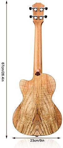 HRICANE Tenor Ukulele Diseño delgado Cutaway 27 pulgadas Tapa de abeto Spalted Maple Espalda Ukelele Kit con correa de bolsa Cuerdas extra paño de limpieza: Amazon.es: Instrumentos musicales
