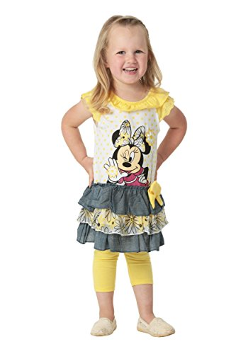 (Disney Girls' Minnie Mouse 2-Piece Legging Set, Ruffle Yellow,)