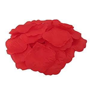 JUYO VONSAN Artificial Rose Petals Wedding Flowers Favors 500PCS (Red) 28