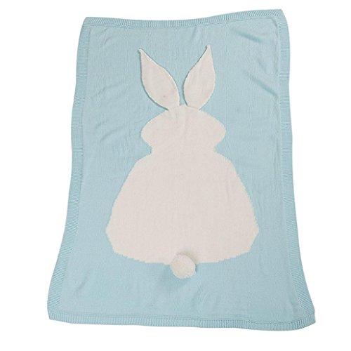 AMA(TM) Baby Kids Rabbit Knitting Blanket Bedding Crib Wrap Swaddle Blanket (Sky Blue)