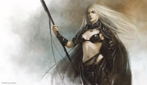 Autographed Magic - Artists of Magic Premium Playmats: FEMALE HUNTER Autographed by the Artist DAARKEN