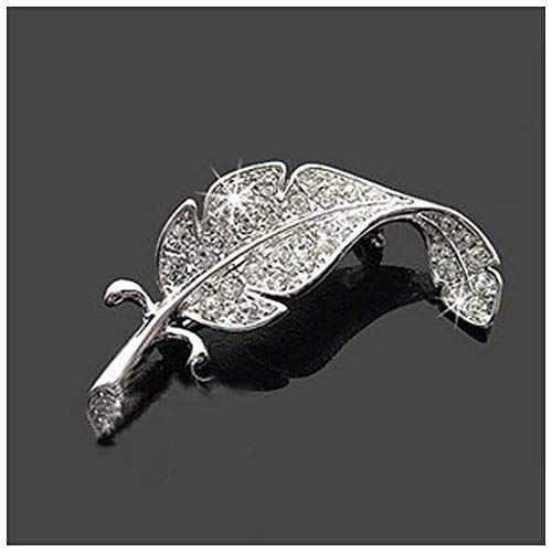 MIXIA Exquisite Fashion Large Leaves Feather with Full Clear Crystal Rhinestone Brooches Pin for Women Girls