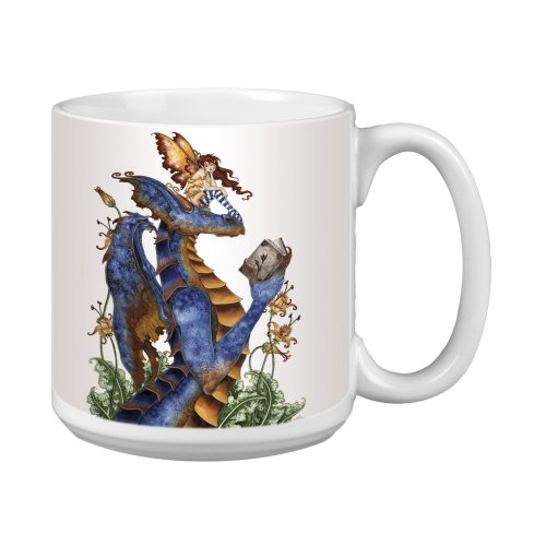 (Tree-Free Greetings XM27582 Amy Brown Artful Jumbo Mug, 20-Ounce, Fantasy Book Club Reading Dragon and Fairy)