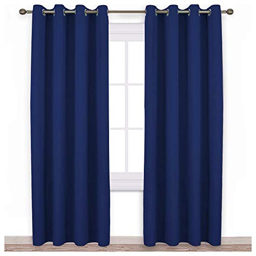 NICETOWN Blackout Curtain Panels 84 - Window Treatment Energy Saving Thermal Insulated Solid Grommet Blackout Drapes for Livingroom (Royal Navy Blue, 1 Pair, 52 by 84-Inch)