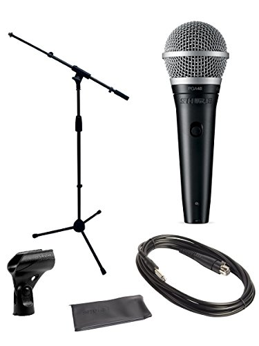 Shure PGA48 Microphone Bundle with MIC Boom Stand and 1/4