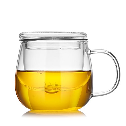 (Cupwind 17 Ounce Glass Teapot with Infuser Tea Filtering Leaf Loose Maker Cup with Lid )