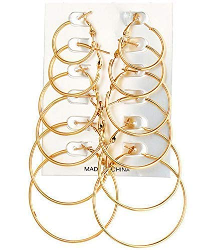 b9c296807d60 Buy Moda Accessories Vintage Gold Colour Big Circle Hoop Earrings For Girls    Women -6 Pair Set Online at Low Prices in India