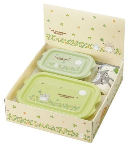 Studio Ghibli My Neighbor Totoro Design Washcloth Towel and 2 Microwavable Small Containers Gift Box Packing