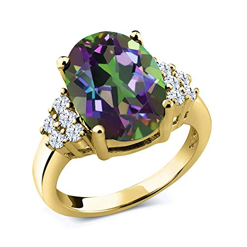 Oval Green Quartz Ring - Gem Stone King 4.40 Ct Oval Green Mystic Quartz White Topaz 18K Yellow Gold Plated Silver Ring (Size 8)