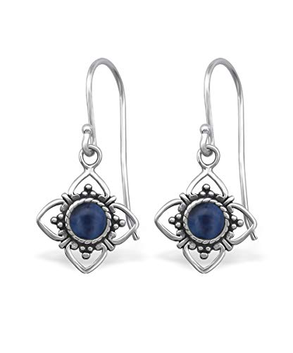 Wholesale Gemstone Earrings - Sterling Silver Oxidized Sunburst with Sodalite Wholesale Gemstone Fashion Jewelry Earrings