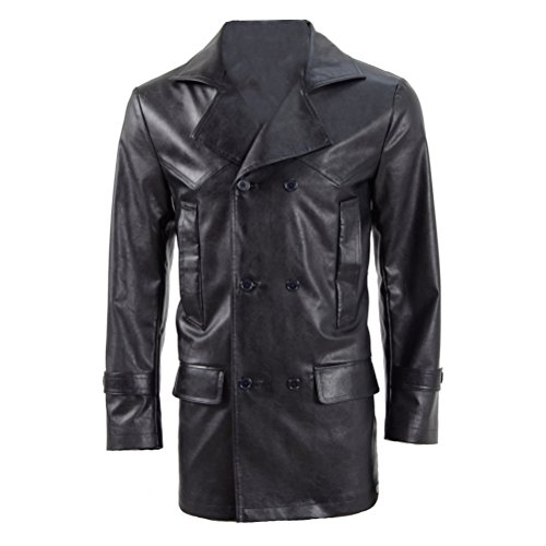 O-O Cosplay Mens Black PU Leather Jacket Trench Coat Halloween Cosplay Costume (Man-M, (The 9th Doctor Costume)