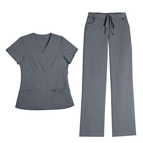 Grey's Anatomy Women's Mock Wrap Top 4153 & Drawstring Pant 4232 Scrub Set (Granite - Small/Medium Petite) by Barco
