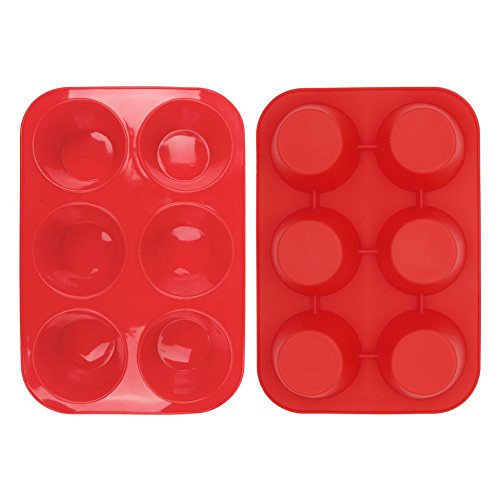 Home-Best-Buy 2 Pack Silicone Muffin Pan, 6 Cup Baking Tin, Non-Stick Bakeware for Cupcakes & Puddings (2) by Home-Best-Buy