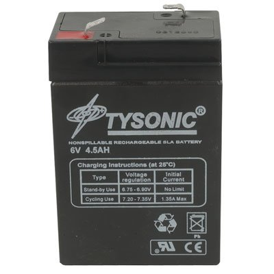 (Tysonic TY-6-4.5 Rechargeable Battery, Sealed Lead Acid, 6 V, 4.5 Ah, 107 mm H x 47 mm W x 70 mm L)