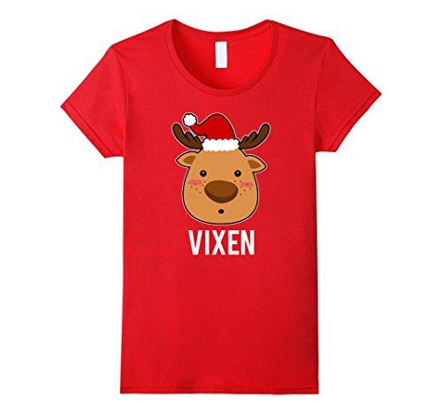Womens Santa Reindeer Vixen T-Shirt Christmas Group Costume Tee XL Red