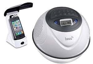 Steinbach Sistema de sonido Bass Ball, MP3/FM Radio/USB/SD Card, Natación, resistente al agua IPX7, color blanco, 1,50kg