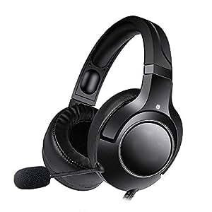 Tchin Auriculares para Juegos Auriculares en línea Luces con Cable PS4 E-Sports Auriculares para computadora Orejeras cómodas y Suaves (Color : Negro)