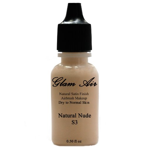Large Bottle Airbrush Makeup Foundation Satin S3 Natural Nude Water-based Makeup Long Lasting All Day Without Smearing Running, Fading or Caking 0.50 Oz Bottle By Glam Air