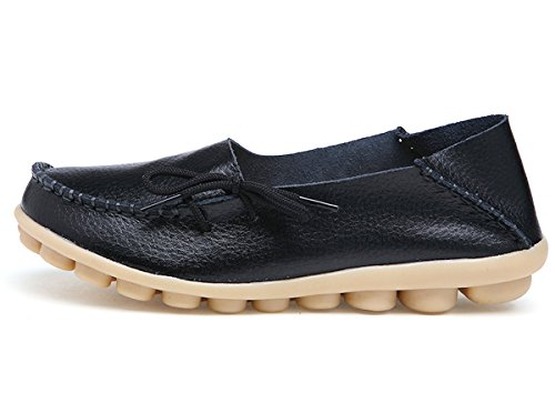 Ifashion Women's Driving Shoes Cowhide Leather Loafers Moccasins Lace-Up Pumps Causal Flats Boat Shoes Black Yyqb78HW
