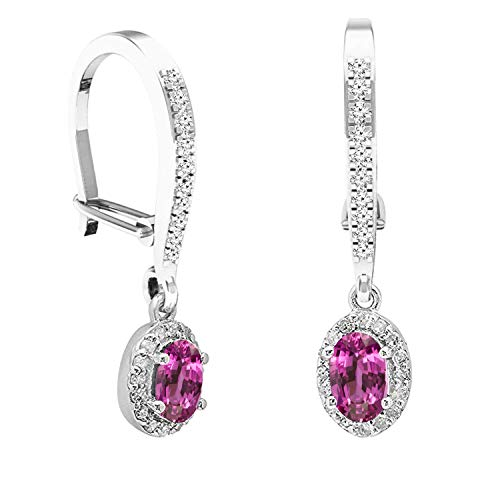 Sapphire Pink Earrings Oval (Dazzlingrock Collection 10K 5X3 MM Each Oval Pink Sapphire & Round White Diamond Ladies Dangling Drop Earrings, White Gold)