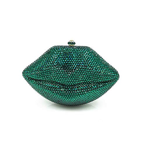 FFLLAS Di Alta Qualità Strass Serata Borsa Di Lusso Borsetta Borsa A Mano Con Diamante Diagonale Pacchetto,Green