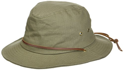 Brixton Men's Penn Quilted Short Brim Waxed Cotton Fedora Hat, Olive, M