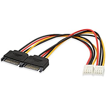 Electop 2 Pack 4 Pin Floppy Drive to 15 Pin SATA Male Power Cable