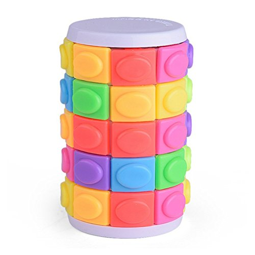 STOBOK Magic Cube Puzzle Cube Five-Order Cylindrical Brain Teaser Educational Toy for Kids Toddlers Adults (Colorful) ()