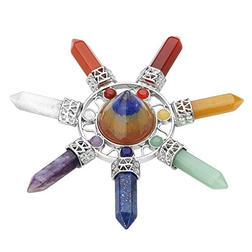 Jovivi Cone Crystal Energy Generator Chakra Stone Points Seven Direction 7 Chakra Quartz Crystal Reiki Stone for Healing Meditation
