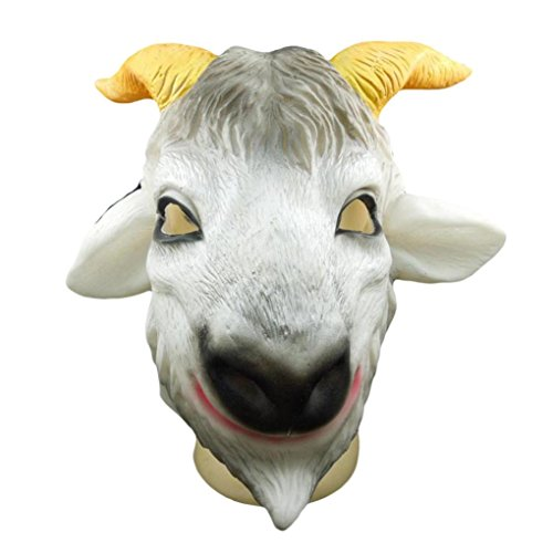 NXDA Animal Full Head Latex Mask Horror Novelty for Halloween Costume Party Decorations-Goat (Asian White Couple Halloween Costume)