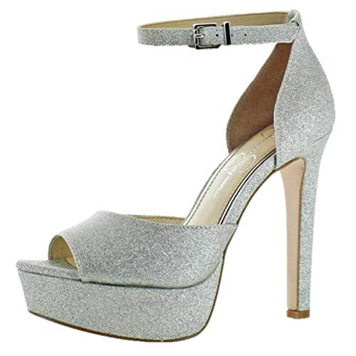 Jessica Simpson Women's Beeya Ankle Strap Platform Heeled Shoes Silver Size ()