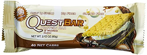Quest Nutrition Protein Bar, S'Mores, 21g Protein, 4g Net Carbs, 190 Cals, 2.1oz Bar, 12Count, High Protein, Low Carb, Gluten Free, Soy Free - Bar Smores