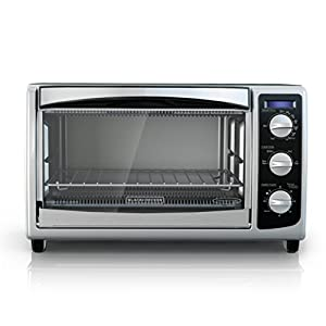 BLACK+DECKER TO1675B 6-Slice Convection Countertop Toaster Oven, Includes Bake Pan, Broil Rack & Toasting Rack, Stainless Steel/Black Convection Toaster Oven – does a nice job at a decent price.