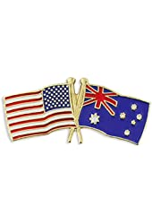 USA and Australia Crossed Friendship Flag Lapel Pin