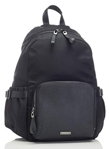 Hero Luxe Black Diaper and Stroller Bag with Gun Metal Hardware and Leather Pocket by Storksak| Universal Fit, Generous Storage, Water Resistant Converting Diaper Backpack with Integrated Accessories ()