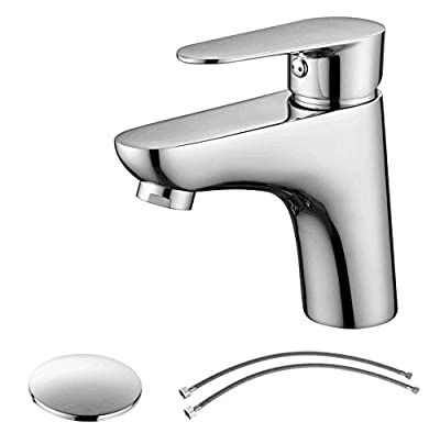 Parlos Widespread Double Handles Bathroom Faucet with Pop Up Sink Drain and cUPC Faucet Supply Lines