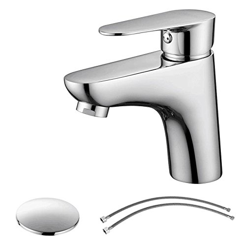 PARLOS Single Handle Bathroom Faucet with Sink Drain Assembly & cUPC Faucet Supply Lines, Brushed Nickel, 14143