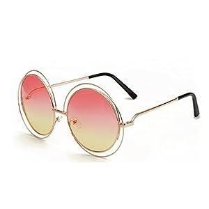 Paciffico Unisex Adults Fashion Oversized Aviator Sunglasses Retro Metal Round Frame Gradient Colored Mirror Eyeglasses PC Lens Glasses UV400 (Pink&Yellow)