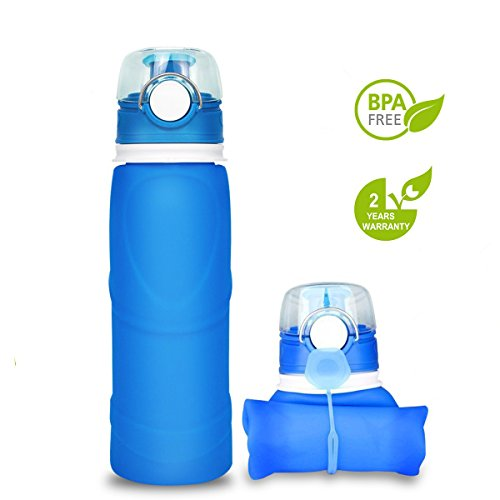 silbyloyoe Silicone water Bottle Foldable Collapsible Anti Leakage With leak proof valve bottles Travel Outdoor sports lightwight Portable BPA free Medical food grade 26 Ounce (Blue) (Water Collapsible Bottles)