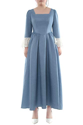 ROLECOS Pioneer Dress Prairie Colonial Costume Dot Civil War Reenactment Dress for Women Blue S