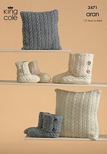 King Cole Aran Ugg Fashion Boots Hug Slippers Knitting Pattern 3471 by King Cole by King Cole