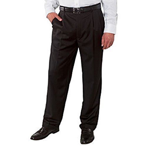Kirkland Signature Men's Wool Gabardine Pleated Pant-Black, 50 X 32