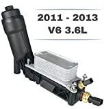 Engine Oil Cooler Assembly | V6 3.6L | 5184294AE for 2011-2013 Dodge Chrysler Jeep | Housing, Filter, Gaskets, Sensors, Bypass Valve & Spring