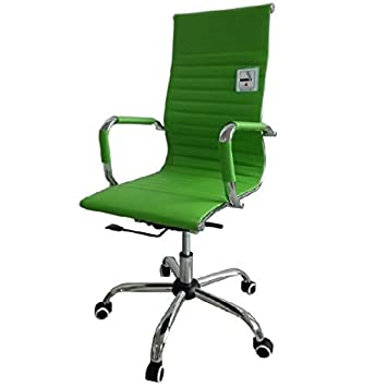 eames inspired office chair. Eames Inspired High Back Ribbed Designer Executive Leather Computer Office Chair (Green)