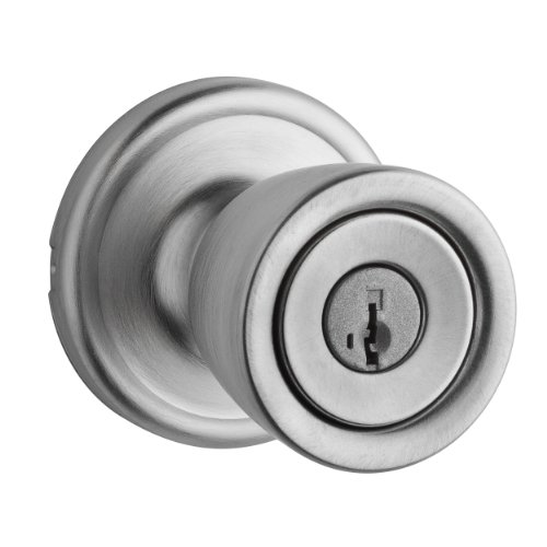 Kwikset Abbey Vetibule Entry Knob featuring SmartKey in Satin Chrome - Signature Series Antique Satin