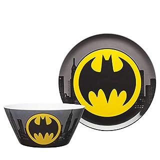 "Zak Designs DC Comics Batman - Kids Dinnerware Set, Including 10"" Melamine Plate and 27 Ounce Bowl Set, Durable and Break Resistant Plate and Bowl Makes Mealtime Fun (Melamine)"